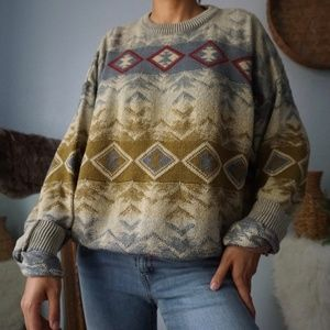 Vintage Oversized Knit Patterned Sweater XL
